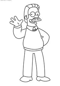 Сосед Симпсонов – Нед Фландерс - скачать и распечатать раскраску. Раскраска Симпсоны