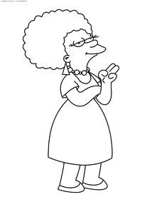 Пэтти Бувье - скачать и распечатать раскраску. Раскраска Симпсоны