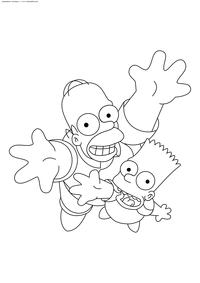 Гомер и Барт - скачать и распечатать раскраску. Раскраска Симпсоны