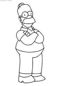 Гомер Джей Симпсон - скачать и распечатать раскраску. Раскраска Симпсоны