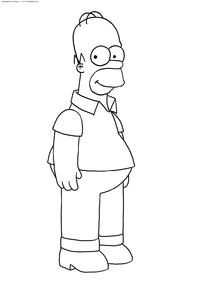Гомер Симпсон - скачать и распечатать раскраску. Раскраска Симпсоны