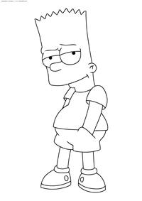 Барт Симпсон - скачать и распечатать раскраску. Раскраска Симпсоны