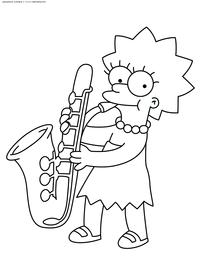 Лиза с саксофоном - скачать и распечатать раскраску. Раскраска Симпсоны, саксофон