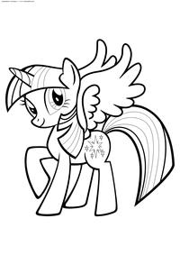 Искорка с крылашками - скачать и распечатать раскраску. Раскраска Пони