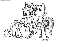 Принцесса Каденс и Шайнинг Армор - скачать и распечатать раскраску. Раскраска Пони