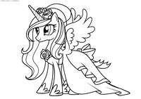 Принцесса Каденс - скачать и распечатать раскраску. Раскраска Пони
