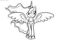 Принцесса Луна - скачать и распечатать раскраску. Раскраска Пони