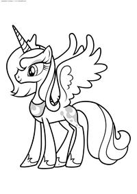 Принцесса Луна - скачать и распечатать раскраску. Раскраска май литл пони
