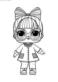 ЛОЛ конфетти поп Старшая сестричка Профессор - скачать и распечатать раскраску. Раскраска лол