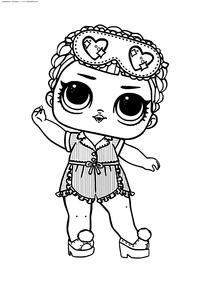 ЛОЛ Sleeping B.B. конфетти поп (Соня БиБи) - скачать и распечатать раскраску. Раскраска лол