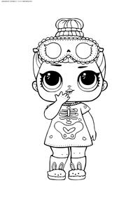 ЛОЛ Sleepy Bones конфетти поп (Скелетик) - скачать и распечатать раскраску. Раскраска лол