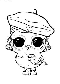 ЛОЛ питомец Совушка Ангелочек - скачать и распечатать раскраску. Раскраска лол