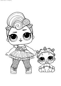 ЛОЛ Мисс Панк с малышкой - скачать и распечатать раскраску. Раскраска лол