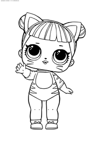 ЛОЛ серия 1 куколка Котенок - скачать и распечатать раскраску. Раскраска лол