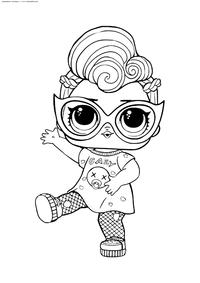 ЛОЛ конфетти поп Девочка Гранж - скачать и распечатать раскраску. Раскраска лол
