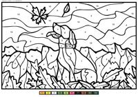 Пес играет с листком - скачать и распечатать раскраску. Раскраска собака, пес, по номерам