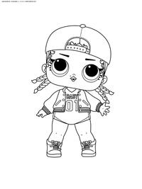 ЛОЛ серия 1 куколка M.C. Swag - скачать и распечатать раскраску. Раскраска лол