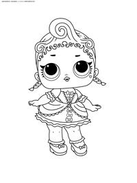 ЛОЛ серия 1 куколка Royal High-Ney - скачать и распечатать раскраску. Раскраска лол